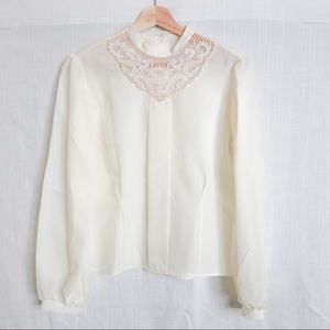 Soft White Vintage Lace Blouse